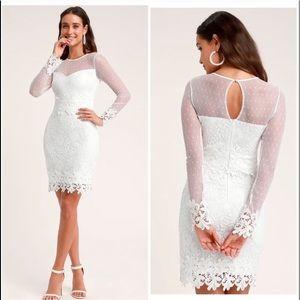 Lulus Lacey Lane White Lace Long Sleeve Dress